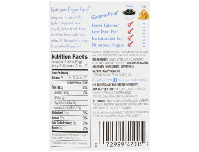 Pearls Reduced Sodium Large Pitted Olives, 6 Ounce -- 12 per case.