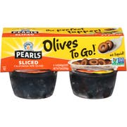 Pearls Black Sliced Olives, 5.6 Ounce Cup -- 6 per case.