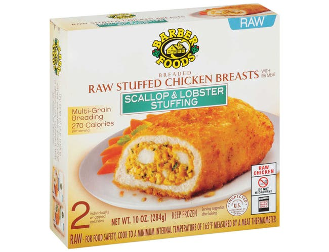 Barber Foods Scallop and Lobster Stuffed Chicken Breast, 10 Ounce -- 12 per case.