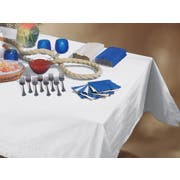 Smith Lee White Embossed Poly Tissue Table Cover, 54 x 108 inch -- 25 per case.