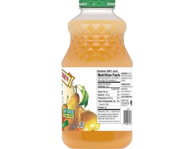 RW Knudsen Organic Pear Juice, 32 Fluid Ounce -- 6 per case.