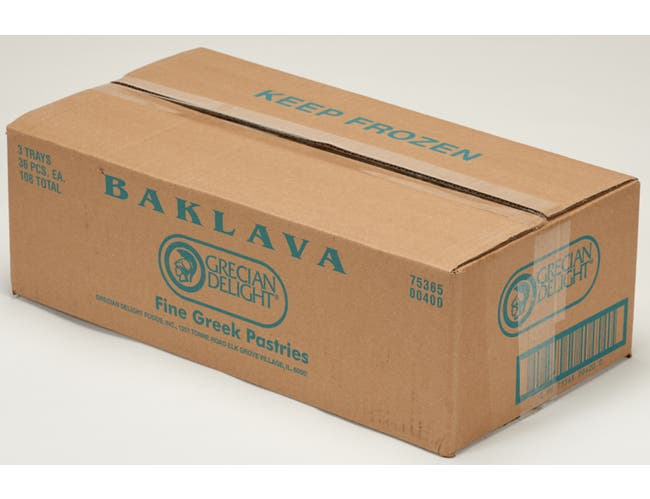 Grecian Delight Baklava - 36 pieces per pack -- 3 packs per case.