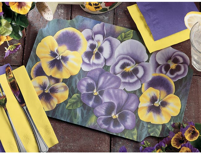 Smith Lee Pansies Placemat, 9 3/4 x 14 inch -- 1000 per case.