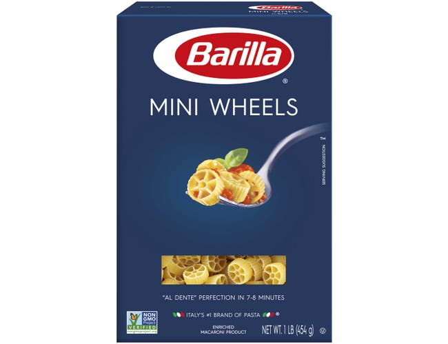 Barilla Mini Wheel Pasta, 16 Ounce -- 12 per case.