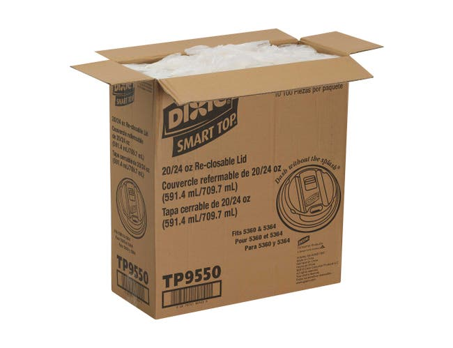 Dixie Smart Top White Reclosable Dome Lid Only -- 1000 per case.