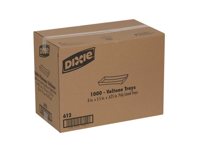 Dixie White Veltone Tray, 8 x 5.5 x 0.625 inch -- 1000 per case.