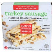 Good Food Made Simple Turkey Sausage Flatbread Breakfast Sandwich, 8.8 Ounce -- 8 per case