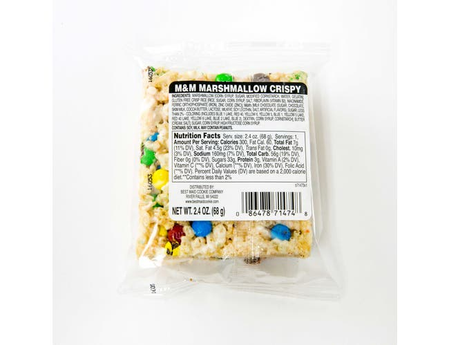 Best Maid Individually Wrapped M and M Marshmallow Crispy Bar, 2.4 Ounce -- 24 per case.