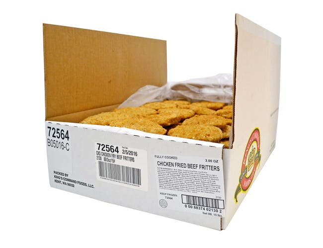 Kings Command Foods Fully Cooked Chicken Fried Breaded Beef Patties, 3 Ounce -- 80 per case.