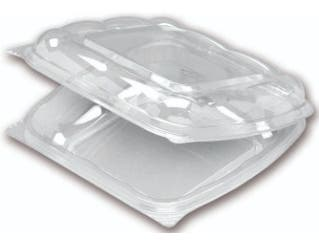 Seeshell Medium Shallow Scalloped Hinged Rigid Container -- 180 per case