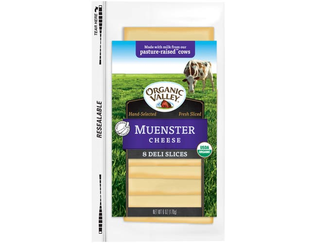 Organic Valley Organic Muenster Cheese Slice, 6 Ounce -- 12 per case