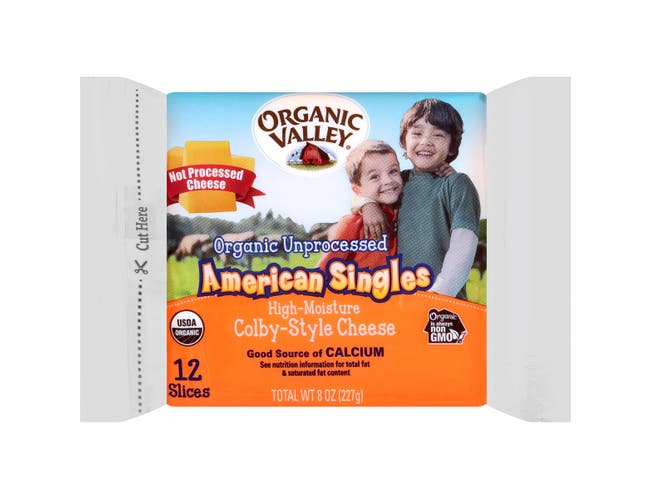 Organic Valley Unprocessed American Single Cheese, 8 Ounce -- 12 per case
