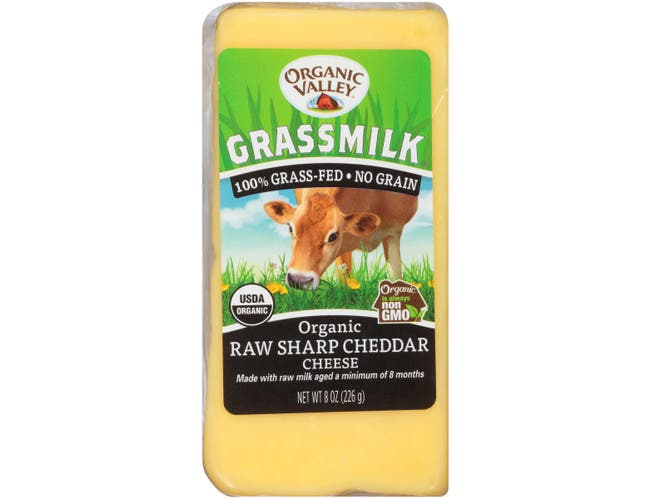 Organic Valley Grassmilk Raw Sharp Cheddar, 8 Ounce -- 10 per case
