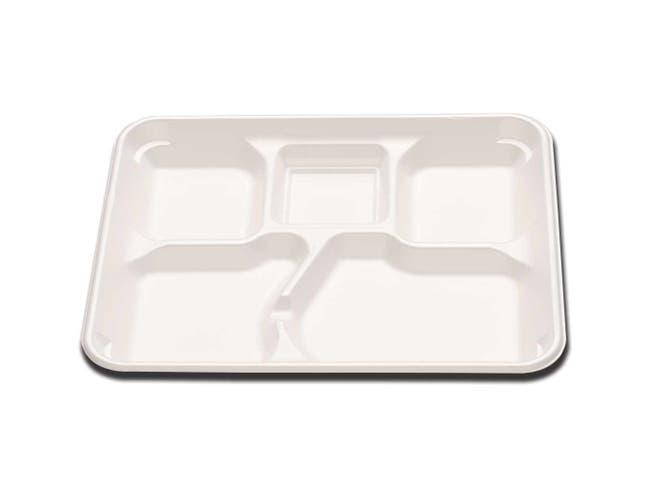 Enviroware 5 Compartment Polystyrene Foam Tray -- 500 per case.