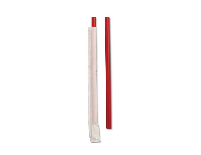 D and W Fine Pack Red Standard Plastic Giant Wrapped Straw, 7.75 inch -- 7200 per case.