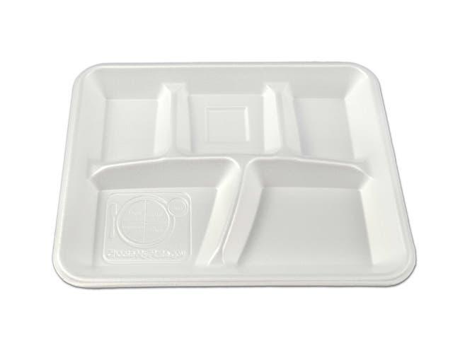 Enviroware Envirofoam White 5 Compartment Tray -- 500 per case.