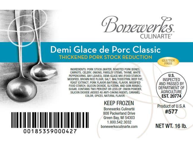 Bonewerks Culinarte Demi Glace de Porc Classic Pork Base, 16 Pound -- 1 each.
