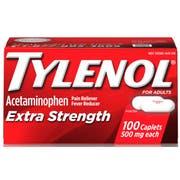 Tylenol Gravity Chute Extra Strength Caplets, 100 per unit -- 8 per case