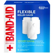 Band Aid 3 inch x 2.12 Yard First Aid Flexible Rolled Gauze, 5 count per pack -- 12 per case