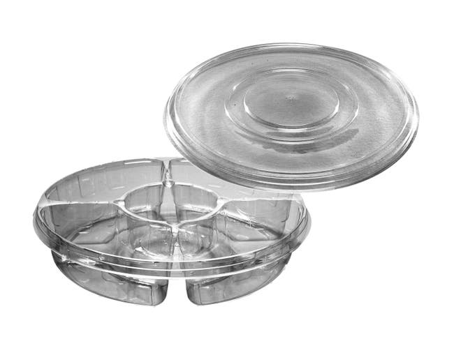 D and W Fine Pack 4 Compartment Platter with Lid, 13 inch -- 50 per case.