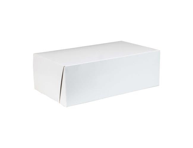 Boxit Lock Corner One Piece White Bakery Box, 10.25 x 6.25 x 3.5 inch -- 250 per case.