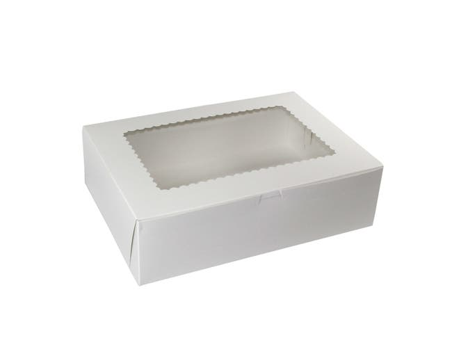 Boxit Windowed Lock Corner One Piece White Bakery Box, 14 x 10 x 4 inch -- 100 per case.