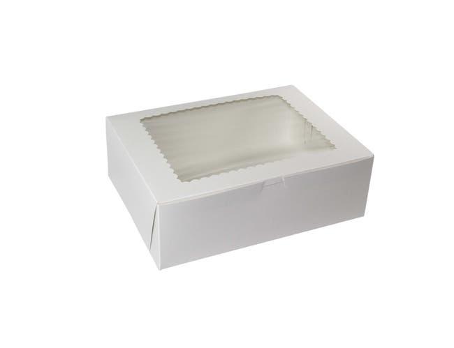 Boxit Windowed White Lock Corner One Piece Cupcake Box, 12 x 9 x 4 inch -- 100 per case.