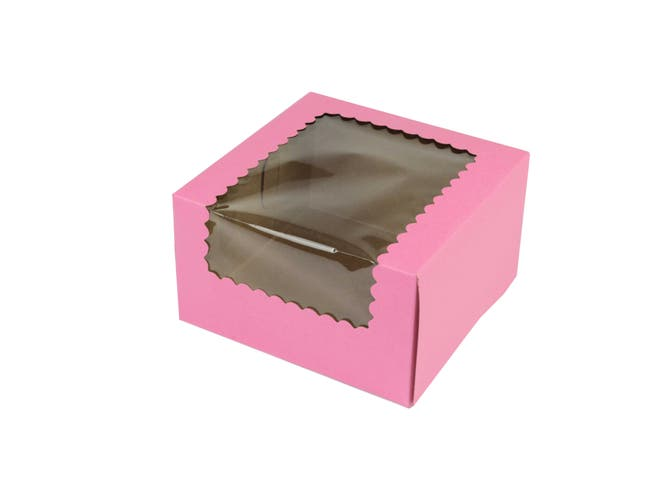 Boxit Windowed Strawberry Lock Corner One Piece Cupcake Box, 7 x 7 x 4 inch -- 200 per case.