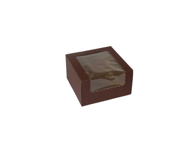 Boxit Windowed Chocolate Lock Corner One Piece Cupcake Box, 7 x 7 x 4 inch -- 200 per case.