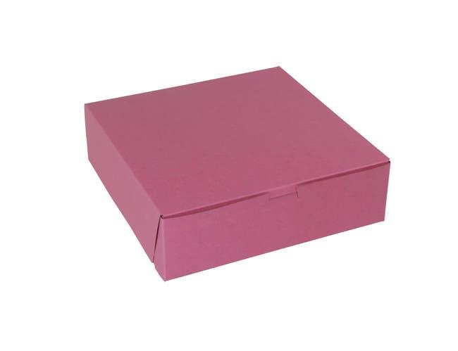 Boxit Lock Corner One Piece Strawberry Bakery Box, 10 x 10 x 3 inch -- 200 per case.