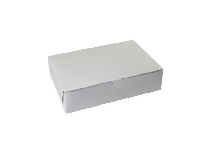 Boxit Lock Corner One Piece White Bakery Box, 13 x 9 x 3.25 inch -- 200 per case.