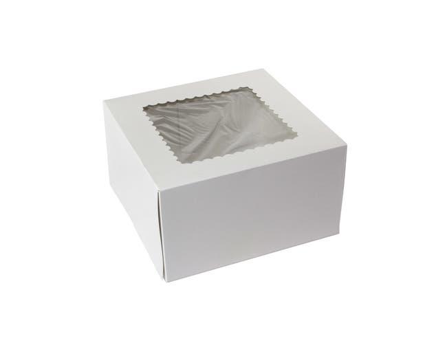 Boxit Windowed One Piece White Bakery Box, 9 x 9 x 5 inch -- 100 per case.