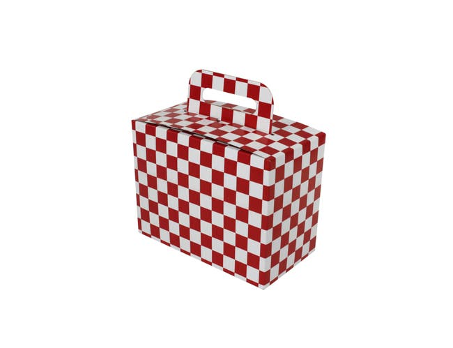 Boxit Red Print Checkerboard Stackable To Go Meal Box, 8.875 x 5 x 6 3/4 inch -- 150 per case.