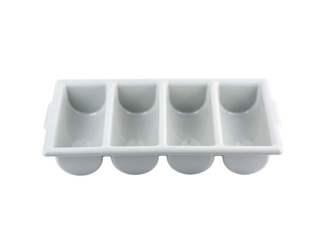 Tablecraft High Density Polyethylene Gray Silverware Cutlery Bin - 4 Compartment, 21 x 12 x 4 inch -- 1 each.