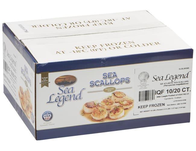 Sea Legend 10/20 Lightly Processed Sea Scallops, 5 Pound -- 2 per case