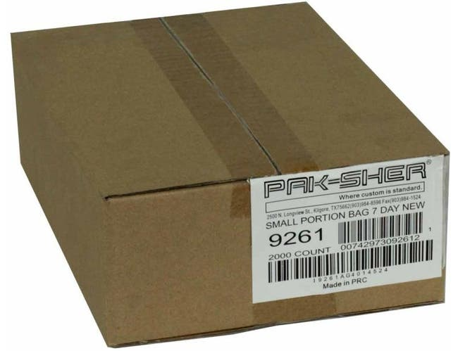 Pak Sher 7 Day Small Portion Bag, 6.375 x 7 inch -- 2000 per case.