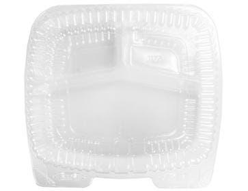 Handi Foil Handi Lock Clear Plastic Three Compartment Hindged Shallow Container, 9 x 9 inch -- 250 per case.