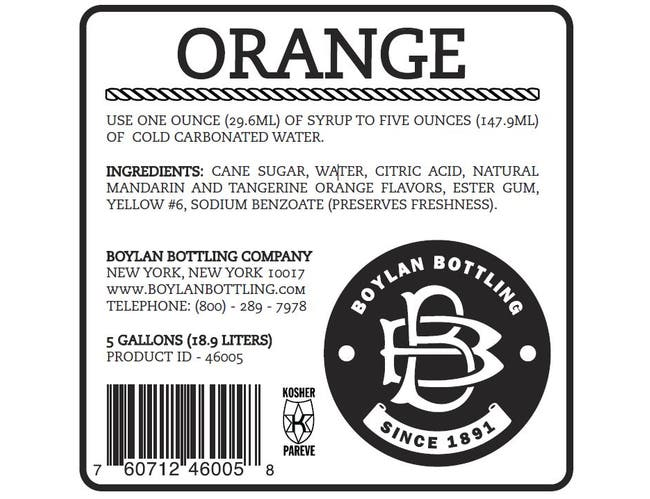 Boylan Bottling Orange Soda, 5 Gallon -- 1 each.