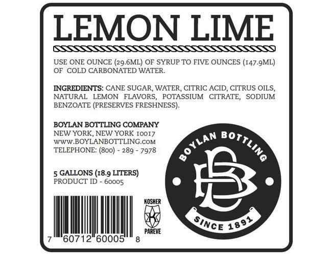 Boylan Bottling Lemon Lime Soda, 5 Gallon -- 1 each.