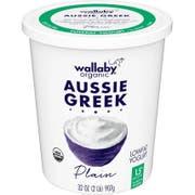Wallaby Organic Aussie Greek Lowfat Plain Yogurt, 32 ounce -- 6 per case