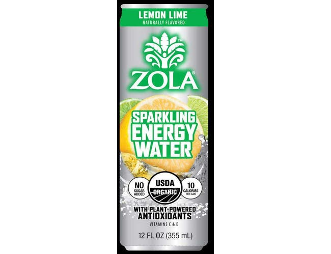 Zola Lemon Lime Sparkling Energy Water, 12 Fluid Ounce -- 12 per case.