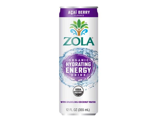 Zola Organic Acai Berry Hydrating Energy Drink, 12 Fluid Ounce -- 12 per case.