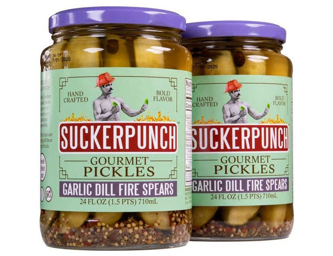 Sucker Punch Garlic Dill Fire Spears Pickle, 24 Ounce -- 6 per case
