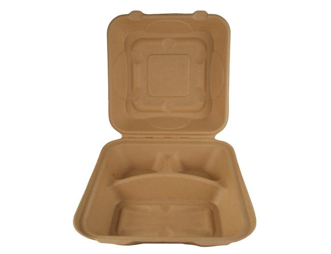 World Centric Three Comportment Unbleached Fiber Take Out Container, 300 Each -- 300 per case