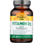 Country Life 2500mg Vitamin D3 Softgel - 200 count per pack -- 1 each