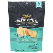 Stacys Cheese Petites Romano with Garlic and Pepper Cheese Snack, 4 Ounce -- 5 per case