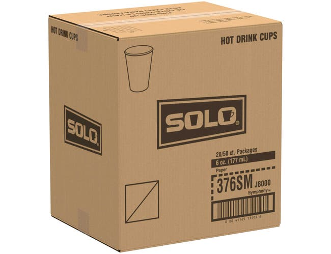 Solo Symphony Design Polystyrene Single Sided Lined Paper Hot Cup, 6 Ounce -- 1000 per case.