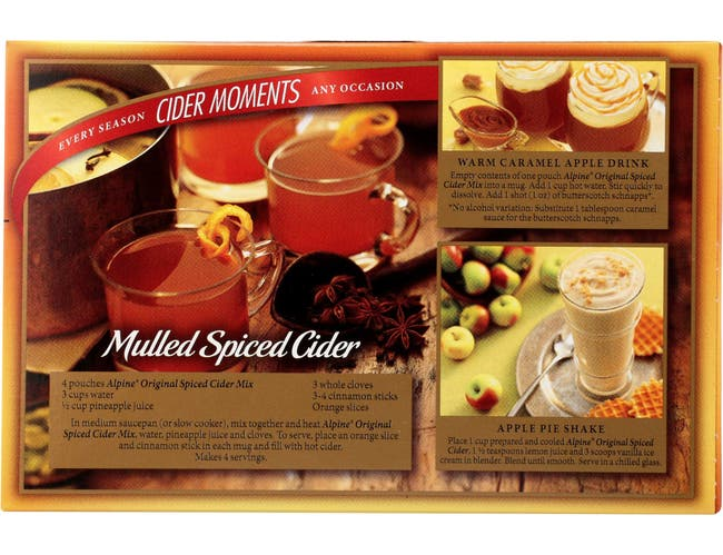 Alpine Original Apple Spiced Cider Flavor Drink Mix, 10 count per pack -- 12 per case
