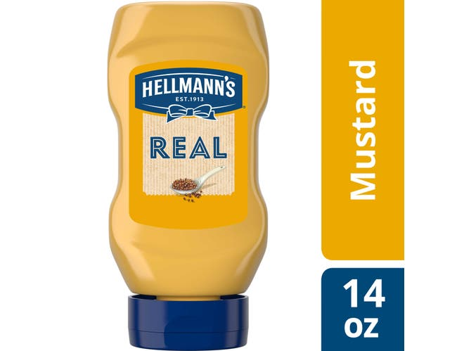 Hellmann's Squeeze Bottle Real Yellow Mustard, 14 oz -- Pack of 12