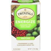 Twinings Energize Matcha Cranberry and Lime Green Tea, 18 count per pack -- 6 per case